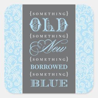 Wedding Favor | Something Old, New, Borrowed, Blue Square Sticker