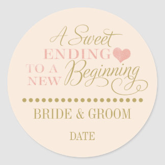 WEDDING FAVOR STICKER rose gold Sweet ending