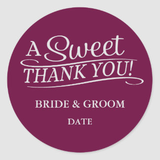 WEDDING FAVOR STICKER Sweet Thank You.