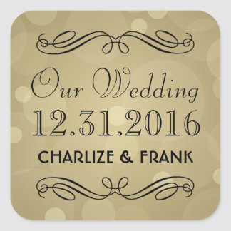 Wedding Favor Stickers | Black and Champagne Gold
