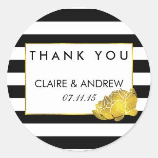 Wedding Favor Stickers | Black Stripe & Gold Peony