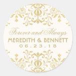 Wedding Favor Stickers   Gold Vintage Glamour Round Sticker
