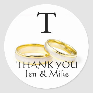 Wedding Favor Stickers Thank You Gold Rings