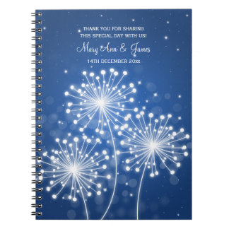 Wedding Favor Summer Sparkle Sapphire Blue Spiral Note Book