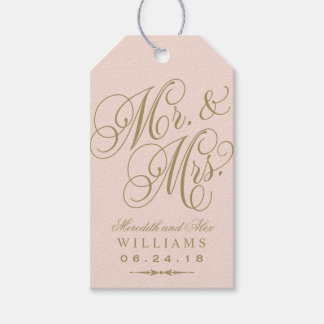 Wedding Favor Tag | Blush Gold Monogram