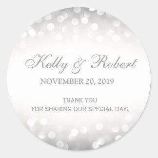 Wedding Favor Tag Elegant Silver Glitter Round Sticker
