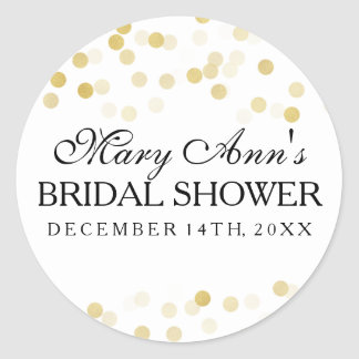 Wedding Favor Tag Faux Gold Foil Glitter Lights Round Sticker