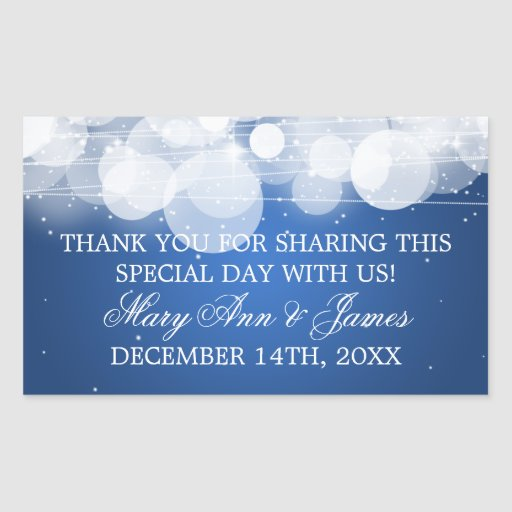 Wedding Favor Tag Glow & Sparkle Blue Rectangle Stickers