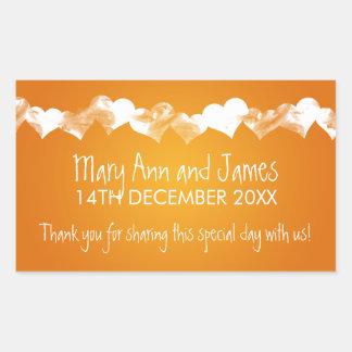 Wedding Favor Tag Grunge Hearts Orange Rectangular Sticker