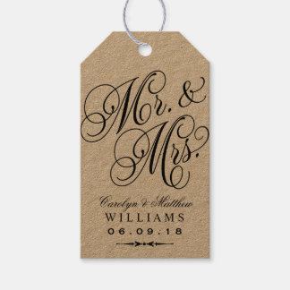 Wedding Favor Tag | Kraft Elegant Monogram