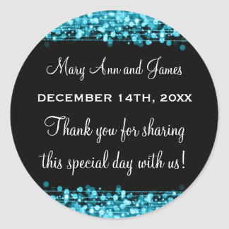 Wedding Favor Tag Party Sparkles Turquoise Round Sticker