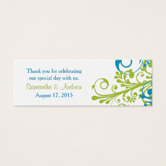 Wedding Favor Tags Abstract Floral Blue Green Mini Business Card