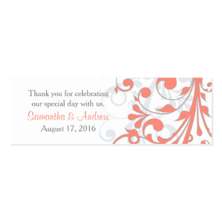 Wedding Favor Tags Abstract Floral Coral Grey Pack Of Skinny Business Cards