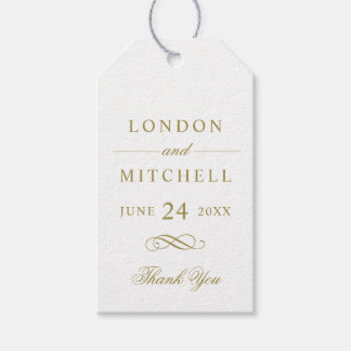 Wedding Favor Tags | Gold Classic Elegance