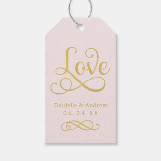 Wedding Favor Tags | Love Script Gold and Pink