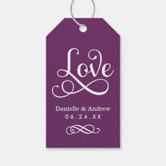 Wedding Favor Tags | Love Script in Plum
