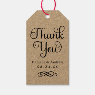 Wedding Favor Tags | Thank You Script in Kraft