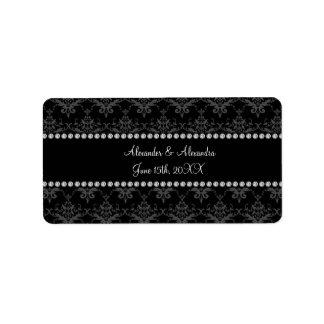 Wedding favors Black damask Address Label