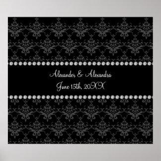 Wedding favors Black damask Poster