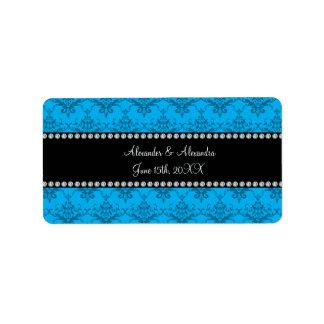 Wedding favors Blue damask Address Label