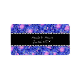Wedding favors Blue roses Address Label