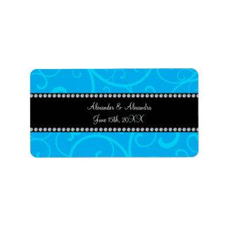 Wedding favors blue swirls address label