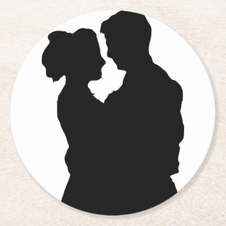 Wedding Favors - Couple silhouette Round Paper Coaster