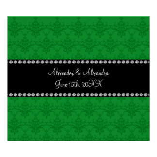 Wedding favors Green damask Poster