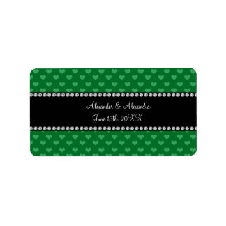 Wedding favors green hearts address label