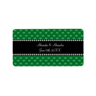 Wedding favors green hearts address label