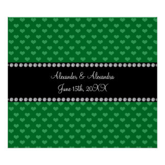 Wedding favors green hearts posters