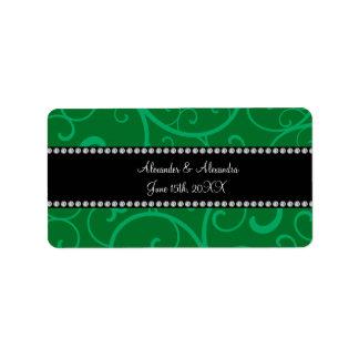 Wedding favors green swirls address label