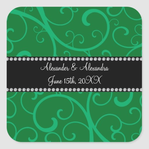 Wedding favors green swirls square stickers