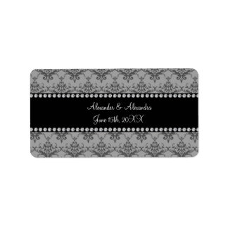 Wedding favors Grey damask Address Label
