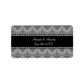 Wedding favors Grey damask Address Label