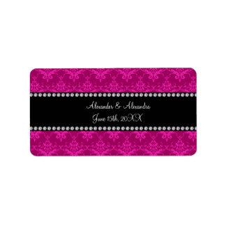 Wedding favors Magenta pink damask Address Label