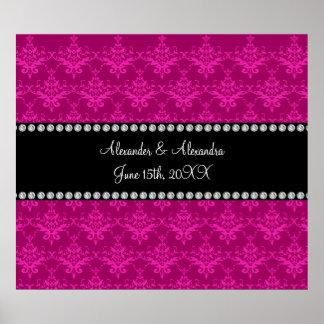 Wedding favors Magenta pink damask Poster