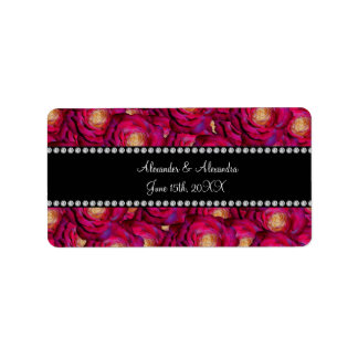 Wedding favors Maroon pink roses Address Label