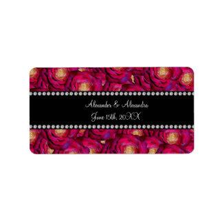 Wedding favors Maroon pink roses Address Label