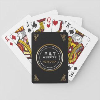 Wedding Favors | Modern Monogrammed Black Gold Playing Cards