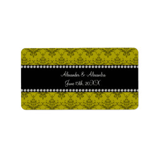 Wedding favors Mustard yellow damask Address Label
