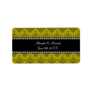 Wedding favors Mustard yellow damask Address Label