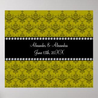 Wedding favors Mustard yellow damask Poster
