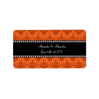Wedding favors Orange damask Address Label