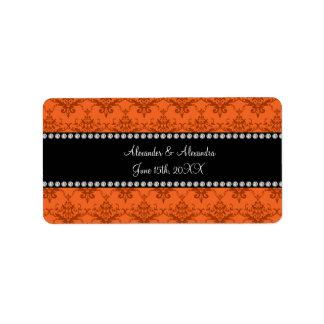 Wedding favors Orange damask Address Label
