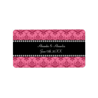 Wedding favors Pink damask Address Label