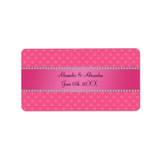 Wedding favors pink polka dots address label