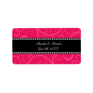 Wedding favors pink swirls address label