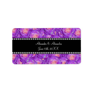 Wedding favors Purple roses Address Label