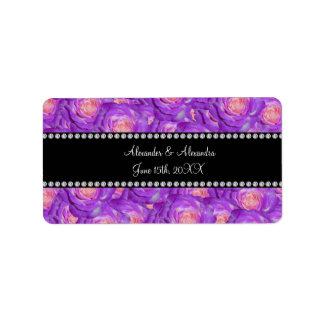 Wedding favors Purple roses Address Label